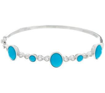 Oval & Round Sleeping Beauty Turquoise Sterling Silver Bangle - J329602