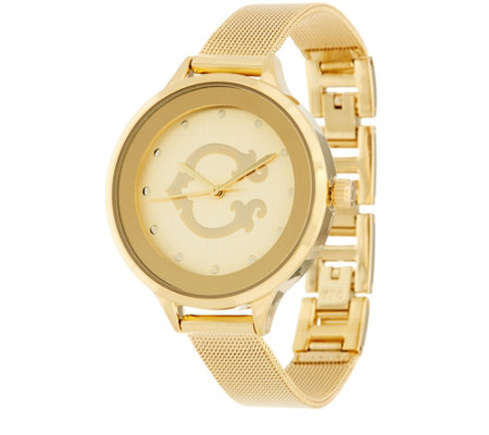 "C. Wonder Signature ""C"" Round Dial Mesh Strap Watch"