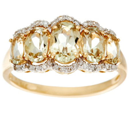 Csarite & Diamond 5-Stone Band Ring, 14K Gold 2.00 cttw