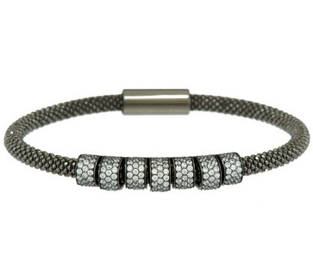 """As Is"" Vicenza Silver Sterling Diamonique Station Beaded Mesh Bracelet"