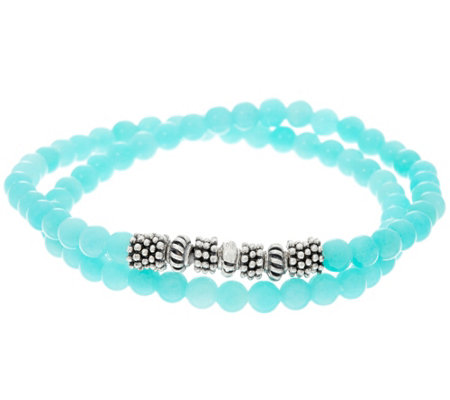 Luv Tia Sterling & Amazonite Stretch Bracelet