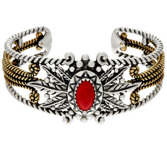 Sterling & Brass Leaf & Coral Design Cuff by American West - J330502