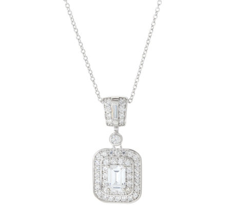 TOVA Diamonique Emerald Cut Pendant w/ Chain, Sterling