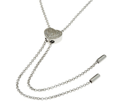 "Diamond Heart 36"" Sterling Lariat Necklace 1/5 cttw, by Affinity"