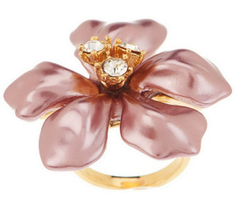 """As Is"" Kenneth Jay Lane's Simulated Pearl Flower Ring - J331302"