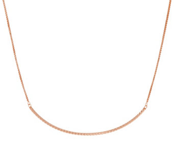 Sterling Silver Polished Curved Bar Necklace by Silver Style - J332202