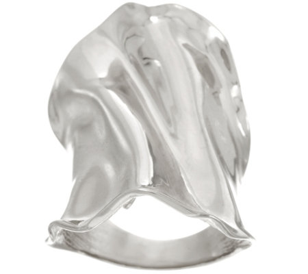 Italian Silver Bold Polished Elongated Sculpted Ring, Sterling