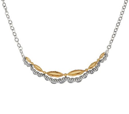 """As Is"" Sterling/Brass Scalloped Design Necklace by Fritz Casuse"