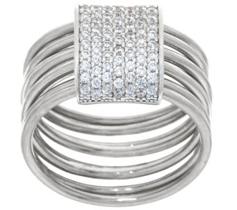 """As Is"" Vicenza Silver Sterling Pave' Crystal Layered Ring - J333302"