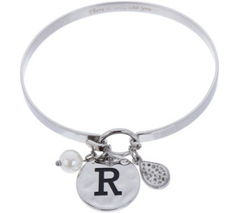 Stainless Steel Initial Charm Bangle with Gift Box - J347402