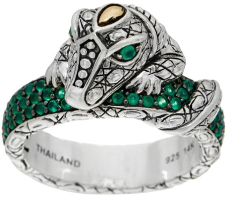JAI Sterling Silver & 14K Croco Pave Gemstone Band Ring