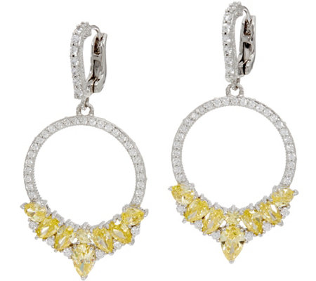 """As Is"" Judith Ripka Sterling Canary DMQ Front Facing Hoop Earring"