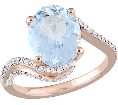 14K 2.75 ct Aquamarine and 1/3 cttw Diamond Bypass Ring