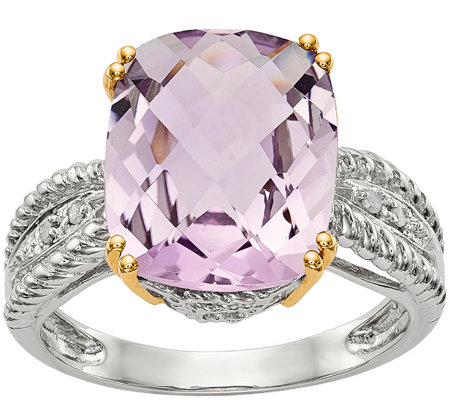 Sterling & 14K 4.70 ct Amethyst and Diamond Ring