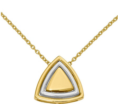 14K Two-Tone Satin Triangle Necklace, 3.5g