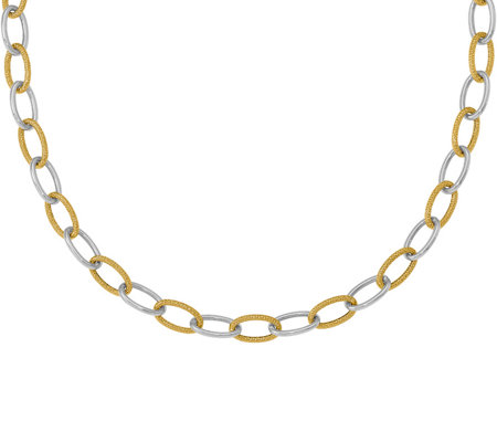 14K Two-Tone Polished & Textured Oval Necklace,8.2g