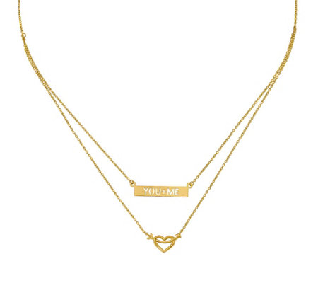 "14K Two-Strand Heart & ""You + Me"" Bar Necklace"
