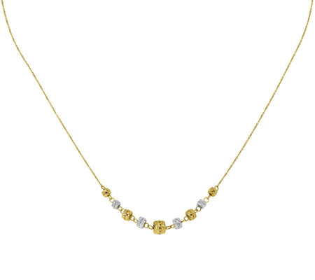 14K Two-tone Graduated Barrel Bead Necklace, 1.5g
