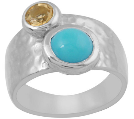 Sterling Turquoise & Citrine Hammered Band Ring