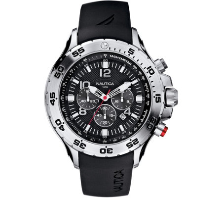 Nautica Men's Stainless Steel Black Resin StrapAnalog Watch