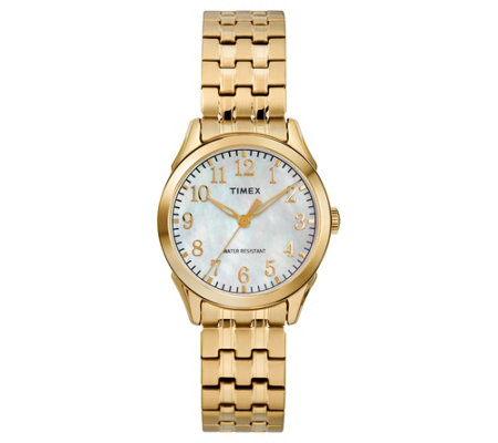 Timex Ladies Mother-of-Pearl Goldtone Analog Watch