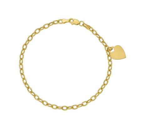 14K Gold Curb Link Heart Dangle Bracelet, 2.3g