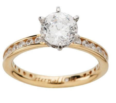 Diamonique 100 Facet 205 cttw Eternal Love Ring 14K Gold