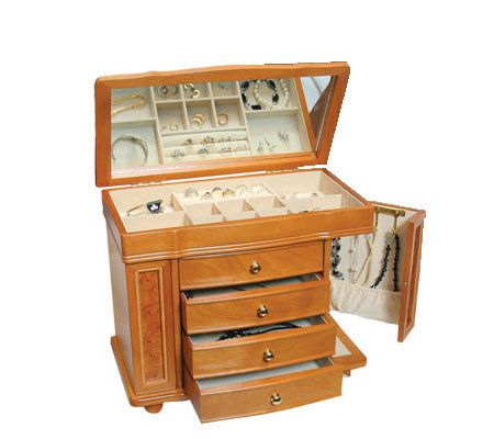 Mele & Co. Honey Oak Finish Jewelry Box - Page 1 — QVC.com