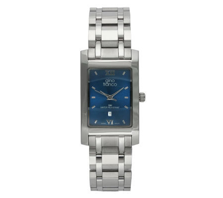 Gino Franco Men's Stainless Steel Bracelet Watch - Rectangula