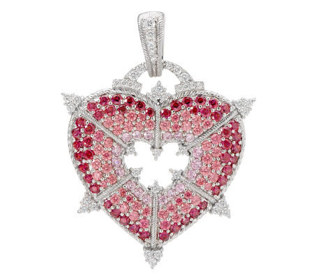 Judith Ripka Sterling Pink Diamonique Pave' Heart Enhancer