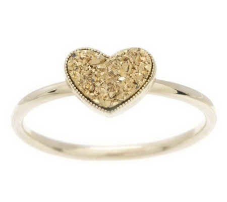 Drusy Quartz Stackable Heart Ring 14K Gold