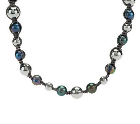 Honora Cultured Pearl and Hematite Macrame Necklace