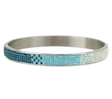 Steel by Design Ombre Crystal Design Bangle Bracelet