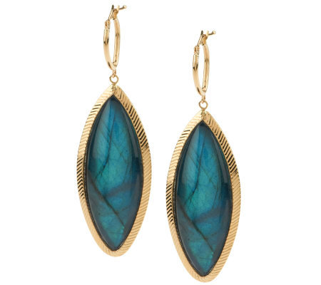 VicenzaGold Marquise Labradorite Doublet Drop Earrings, 14K