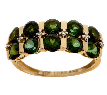 2.30 ct tw Tourmaline & Diamond Accent Band Ring, 14K