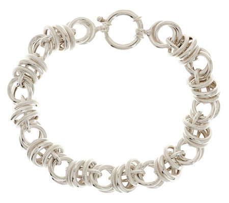 "Sterling 7-1/4"" Polished & Textured Status Link Bracelet, 17.1g"