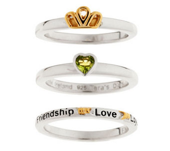 """As Is"" Tara's Diary Set of 3 Claddagh Stack Rings - J283603"