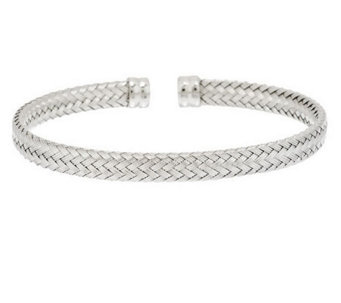 VicenzaSilver Sterling Textured Woven Design Cuff - J287403