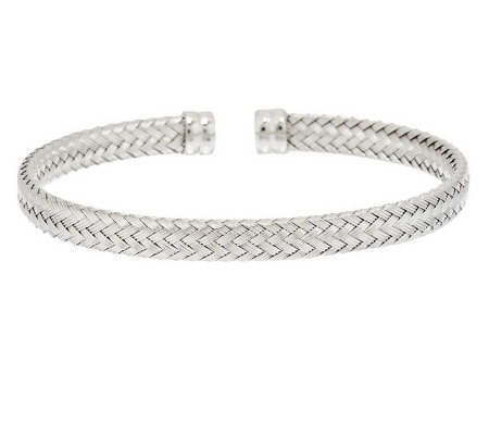 VicenzaSilver Sterling Textured Woven Design Cuff