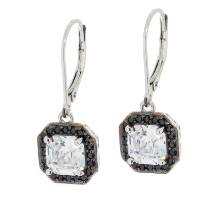 Diamonique Black & Clear Asscher Cut Earrings, Platinum Clad