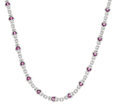 Judith Ripka 11.05cttw Rhodolite Heart Tennis Necklace