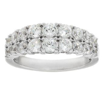 diamonique 100 facet double row band ring platinum clad j290303 - Qvc Wedding Rings