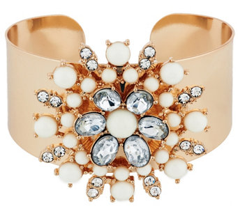 Susan Graver Floral Cabochon Statement Cuff in Goldtone - J291003