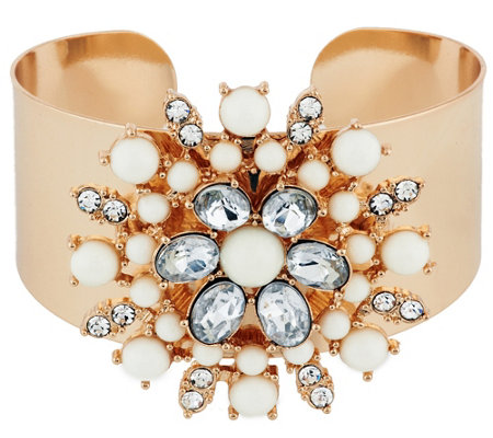 Susan Graver Floral Cabochon Statement Cuff in Goldtone