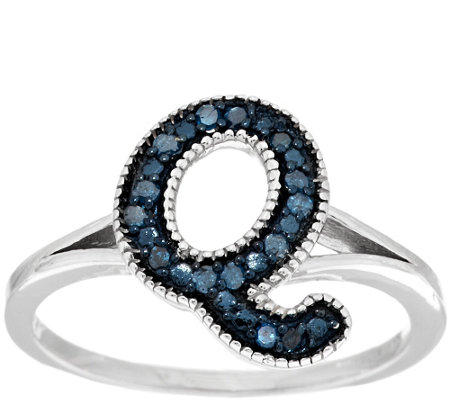 Blue Initial Diamond Ring Sterling, 1/10 cttw by Affinity