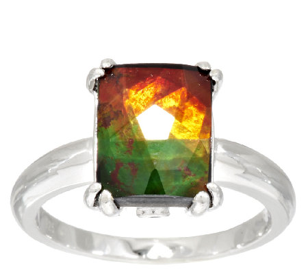 Ammolite Triplet Elongated Cushion Cut Sterling Ring