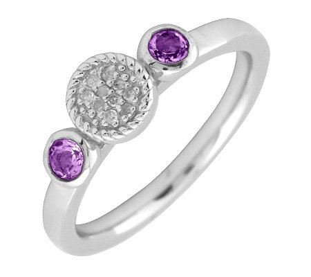 Simply Stacks Sterling Double Round Amethyst Diamond Ring