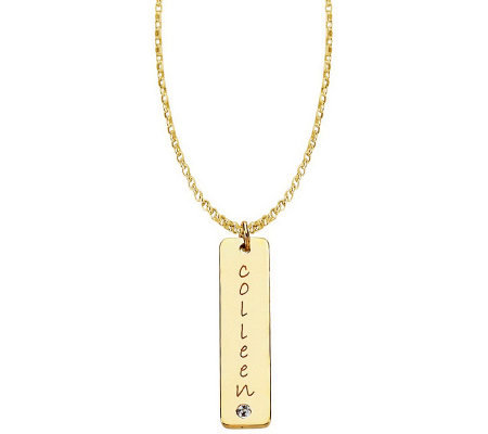 Posh Mommy 18K Gold-Plt Tall Tag SimBirthstonePendant w/Chain