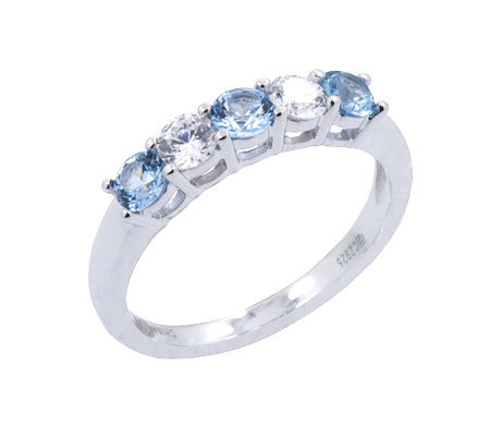 Diamonique 5 Stone Ring, Platinum Clad