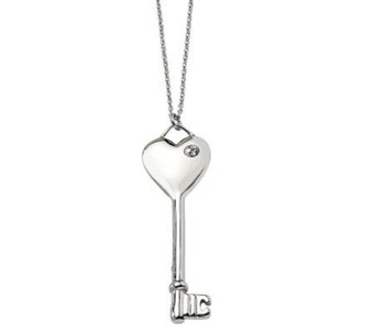 "Stainless Steel Heart Key Pendant w/ 20"" Chain - J302503"